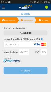 Isi informasi kartu debit